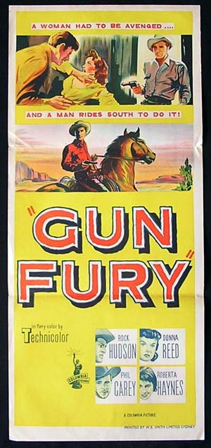 GUN FURY Daybill Movie Poster 1953 Rock Hudson