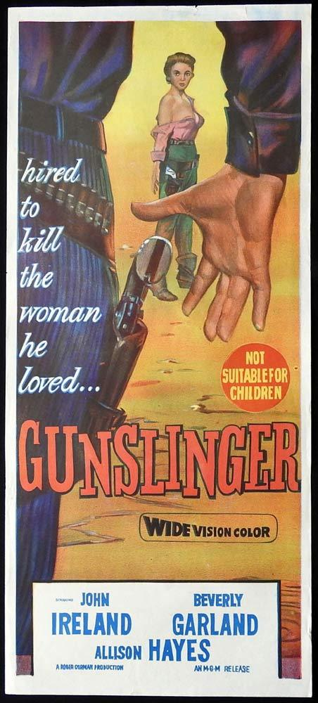 GUNSLINGER Original Daybill Movie Poster John Ireland Beverly Garland