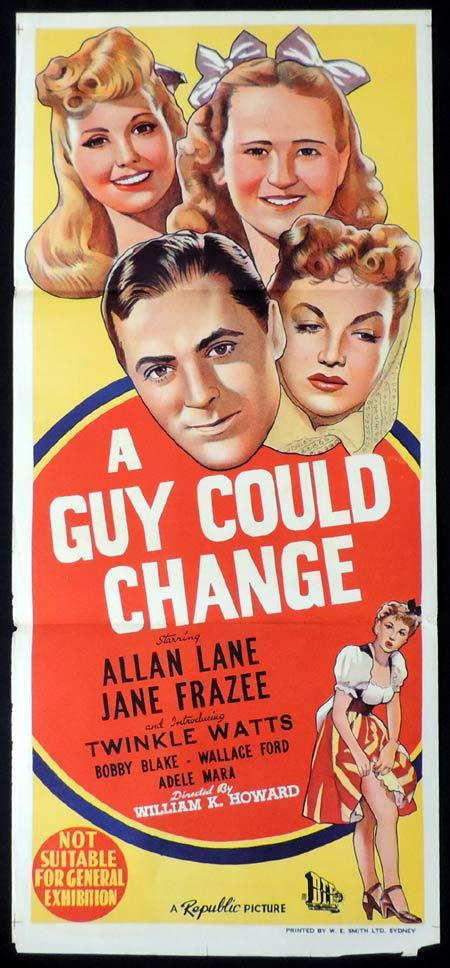 A GUY COULD CHANGE Original Daybill Movie Poster Jane Frazee Allan Lane