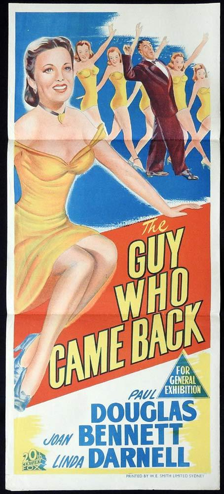 THE GUY WHO CAME BACK Daybill Movie Poster 1951 Paul Douglas Joan Bennett