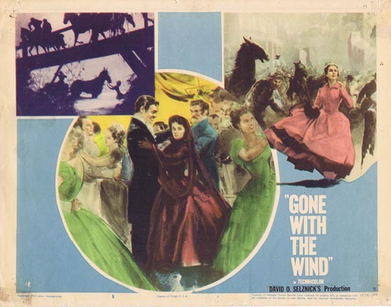 GONE WITH THE WIND Lobby Card 3 1954r Clark Gable Vivien Leigh