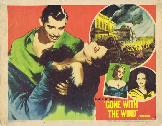 GONE WITH THE WIND Lobby Card 2 1954r Clark Gable Vivien Leigh