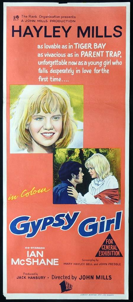 GYPSY GIRL Original daybill Movie Poster Hayley Mills Ian McShane Annette Crosbie