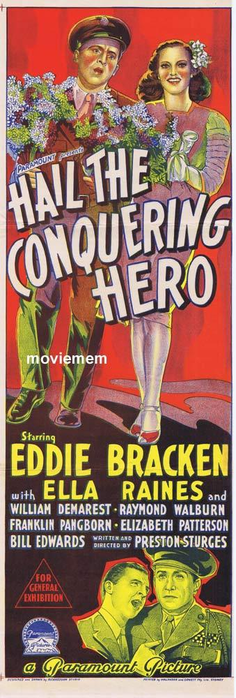 HAIL THE CONQUERING HERO Original Daybill Movie Poster  Eddie Bracken Ella Raines
