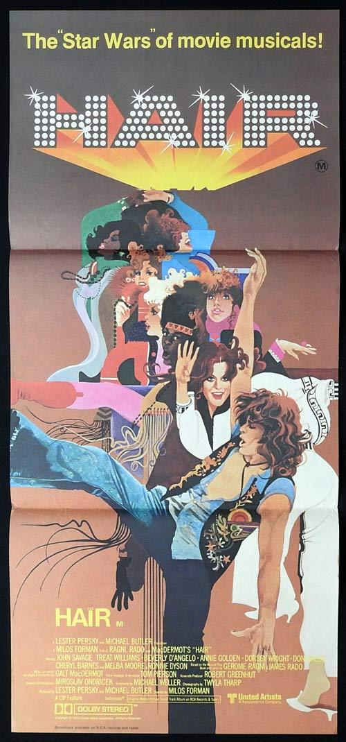 HAIR Original Daybill Movie poster John Savage Treat Williams Beverly D'Angelo