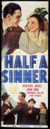 HALF A SINNER Long Daybill Movie poster Heather Angel Constance Collier