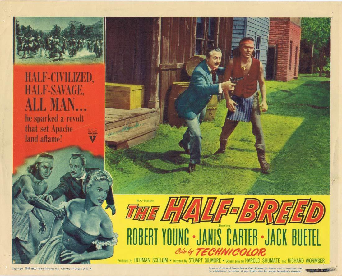 THE HALF BREED Original Lobby Card 2 Robert Young Janis Carter Jack Buetel