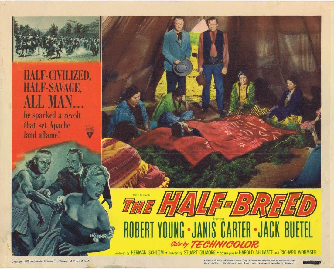 THE HALF BREED Original Lobby Card 3 Robert Young Janis Carter Jack Buetel