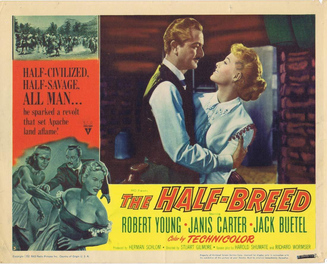 THE HALF BREED Original Lobby Card 5 Robert Young Janis Carter Jack Buetel