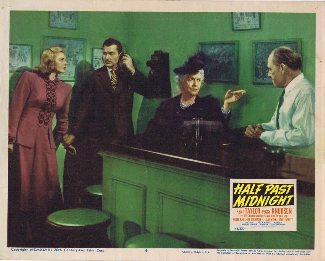 HALF PAST MIDNIGHT Original Lobby Card 6 Kent Taylor Peggy Knudsen Film Noir