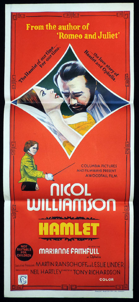 HAMLET Original Daybill Movie poster NICOL WILLIAMSON Marianne Faithfull