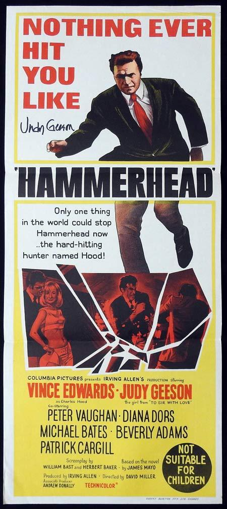HAMMERHEAD Original Daybill Movie Poster Autographed by Judy Geeson