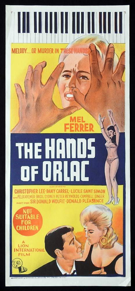 THE HANDS OF ORLAC Original Daybill Movie Poster Christopher Lee