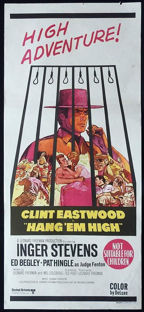 HANG EM HIGH Original Daybill Movie Poster Clint Eastwood