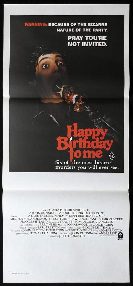 HAPPY BIRTHDAY TO ME Daybill Movie poster Melissa Sue Anderson Glenn Ford Horror