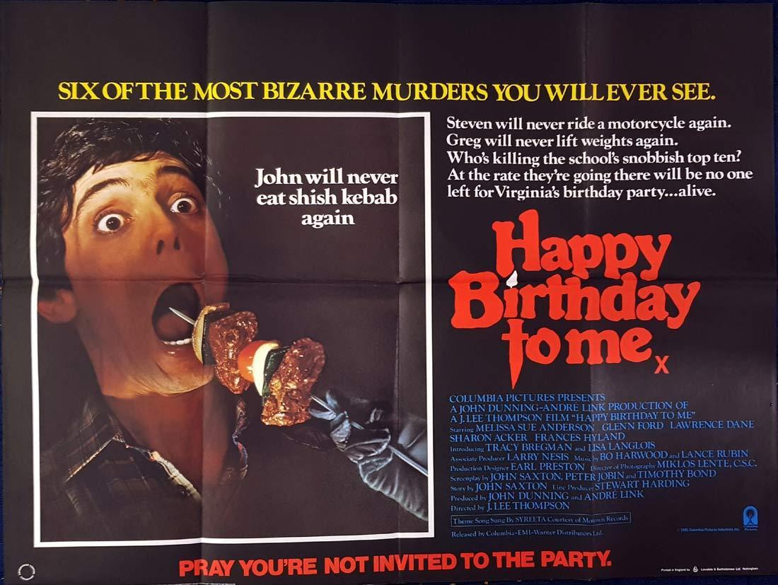 HAPPY BIRTHDAY TO ME British Quad Movie poster Horror Slasher