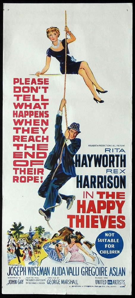 THE HAPPY THIEVES Original Daybill Movie Poster Rita Hayworth Rex Harrison