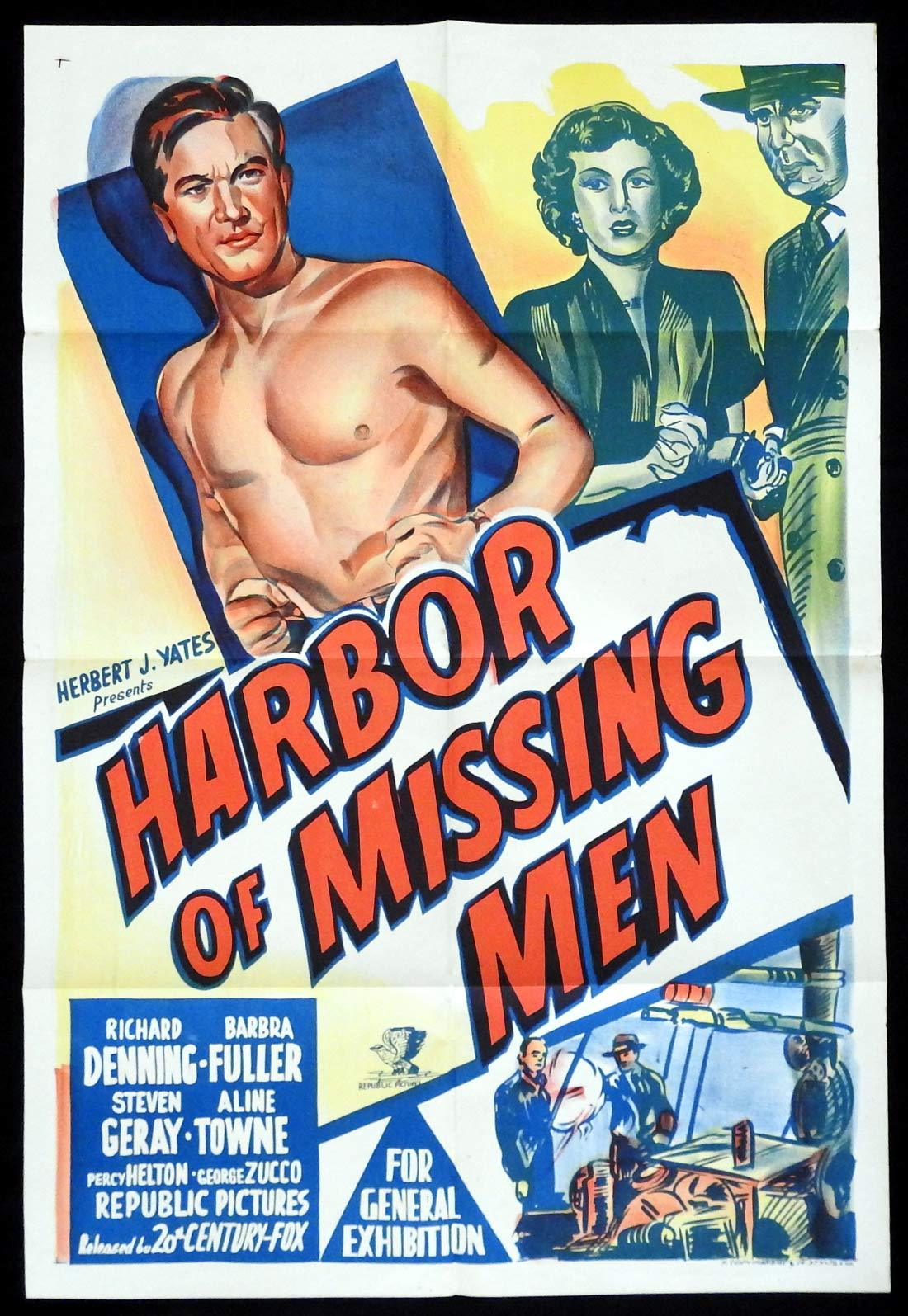 HARBOR OF MISSING MEN Original One sheet Movie poster Richard Denning Barbra Fuller