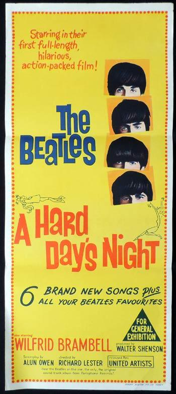 A HARD DAY'S NIGHT Daybill Movie poster THE BEATLES