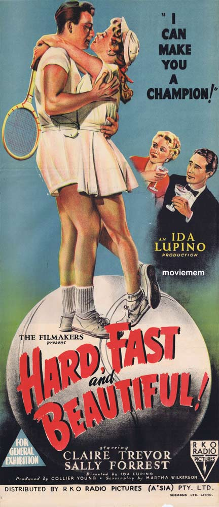 HARD FAST AND BEAUTIFUL Daybill Movie poster RKO Tennis Ida Lupino Claire Trevor
