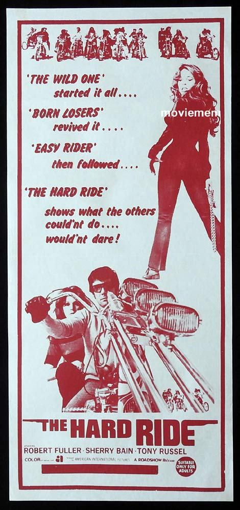 THE HARD RIDE Original Daybill Movie Poster Robert Fuller Motorcycle Biker