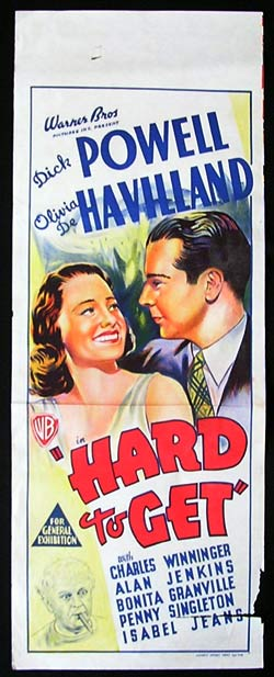 HARD TO GET Long Daybill Movie poster 1938 Olivia DeHavilland