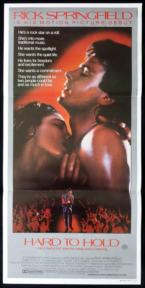 HARD TO HOLD Original Daybill Movie poster Rick Springfield Janet Eilber