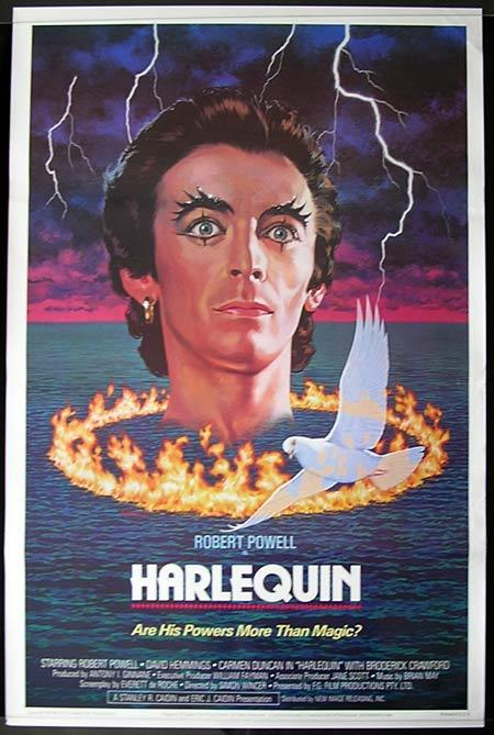 HARLEQUIN 1982R David Hemmings Rare US One Sheet Movie Poster