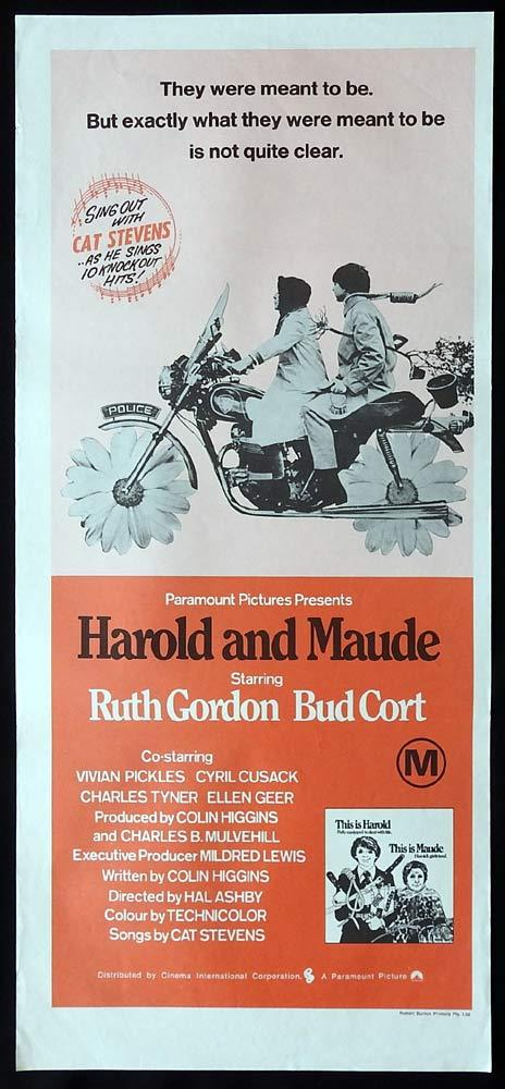 HAROLD AND MAUDE Original 70s Daybill Movie Poster Ruth Gordon Bud Cort