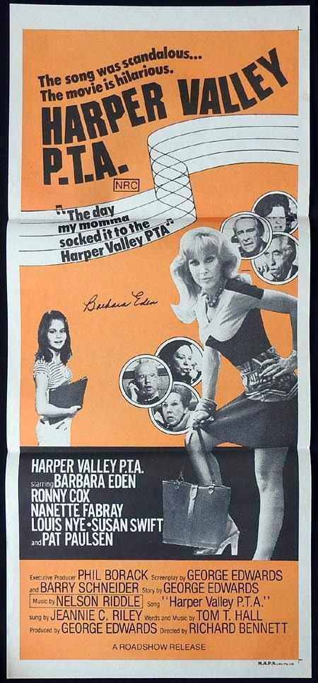 HARPER VALLEY PTA Original Daybill Movie poster BARBARA EDEN Autographed