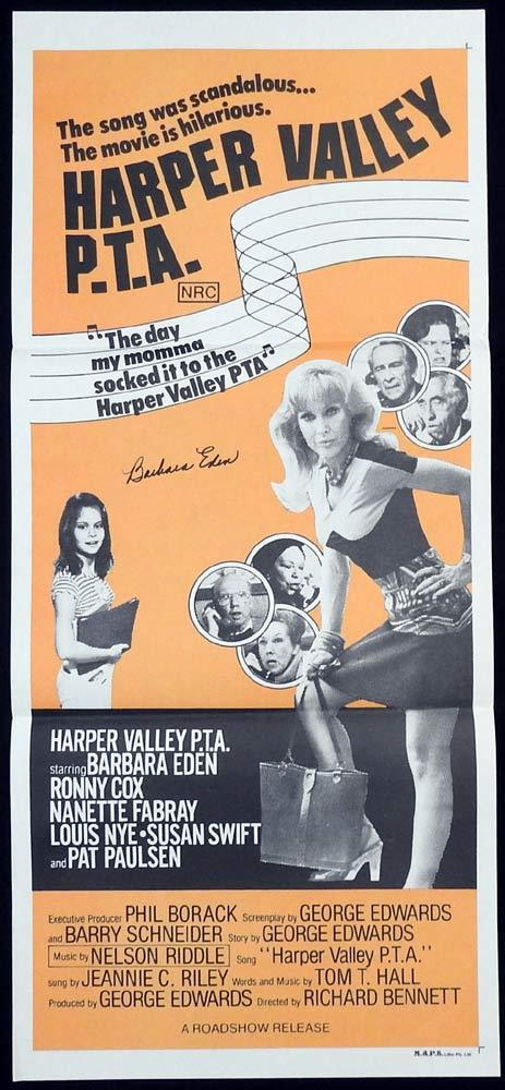 HARPER VALLEY PTA Original Daybill Movie Poster Barbara Eden Autograph