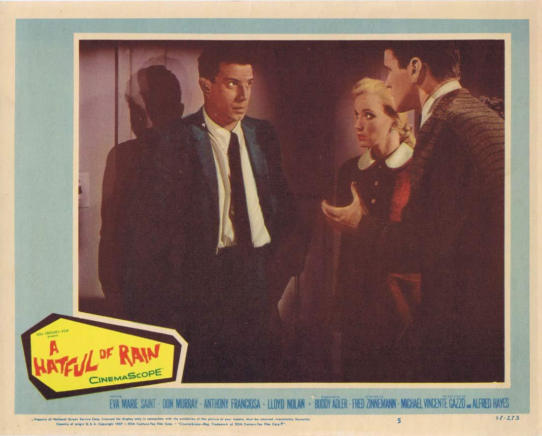 A HATFUL OF RAIN Orginal US Lobby card 5 Don Murray Eva Marie Saint