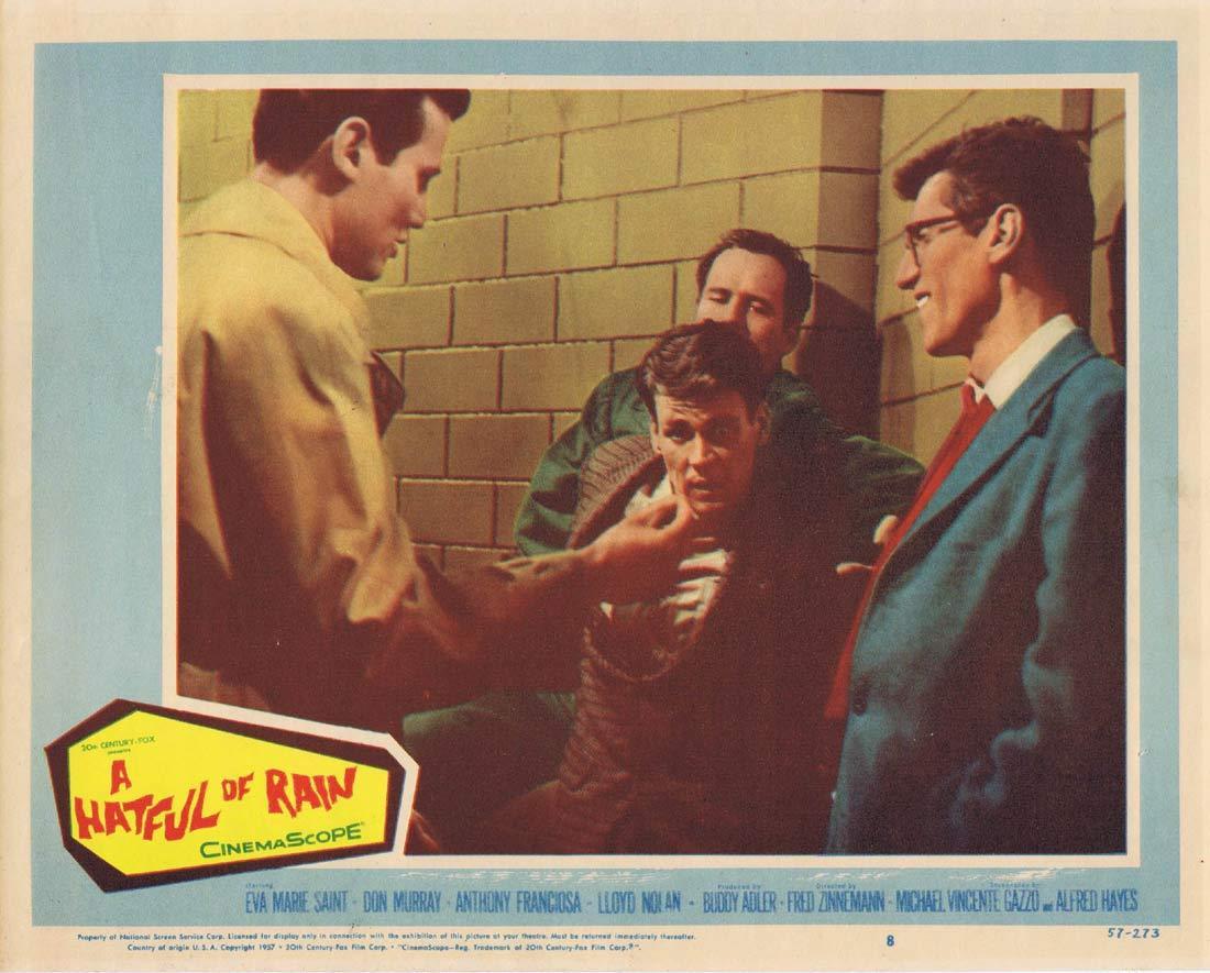 A HATFUL OF RAIN Orginal US Lobby card 8 Don Murray Eva Marie Saint