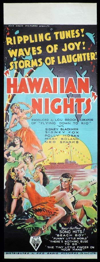 HAWAIIAN NIGHTS Long daybill Movie Poster 1934 RKO Musical