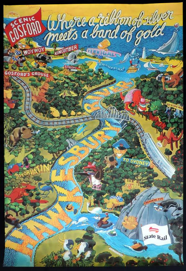 NSW STATE RAIL Vintage Travel Poster c.1980s Gosford Hawkesbury River