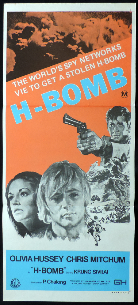H BOMB Original Daybill Movie poster Christopher Mitchum Olivia Hussey