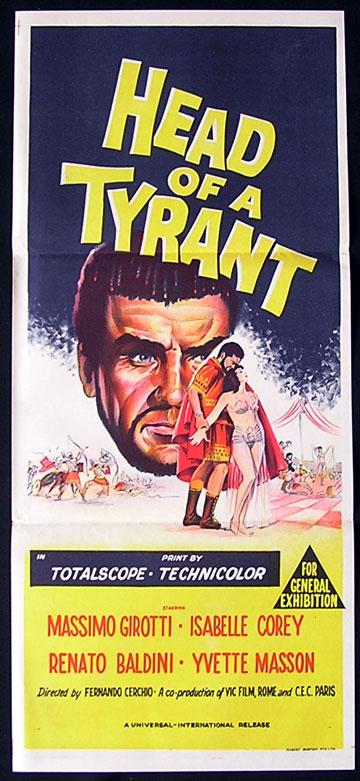 HEAD OF A TYRANT Daybill Movie Poster 1959 Massimo Girotti Australian Daybill