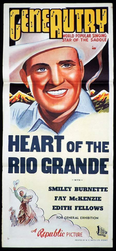 HEART OF THE RIO GRANDE Original Daybill Movie Poster Gene Autry