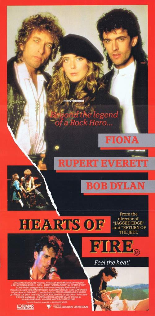 HEARTS OF FIRE Daybill Movie poster BOB DYLAN Rupert Everett