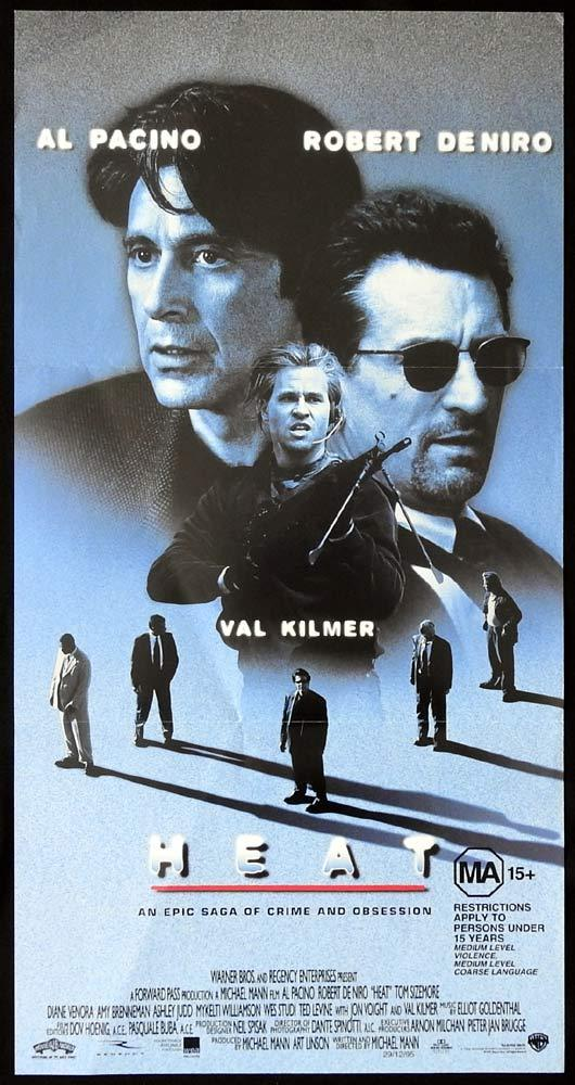 HEAT Original Daybill Movie Poster Robert DeNiro Al Pacino