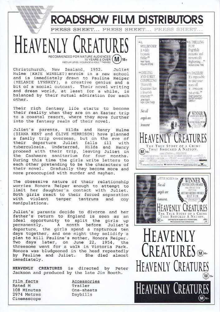 HEAVENLY CREATURES Rare AUSTRALIAN Movie Press Sheet Melanie LynskeyKate Winslet