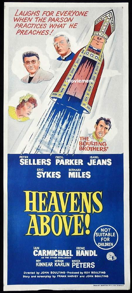 HEAVEN'S ABOVE Original Daybill Movie Poster Peter Sellers Cecil Parker