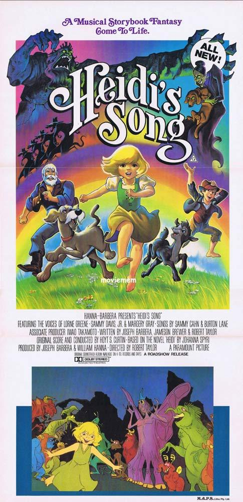 HEIDI'S SONG Original Daybill Movie poster HANNA BARBERA Sammy Davis Jnr