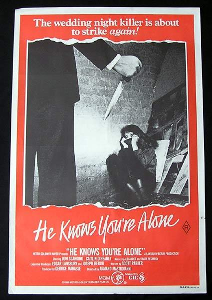 HE KNOWS YOU'RE ALONE Original One sheet Movie poster Don Scardino Horror