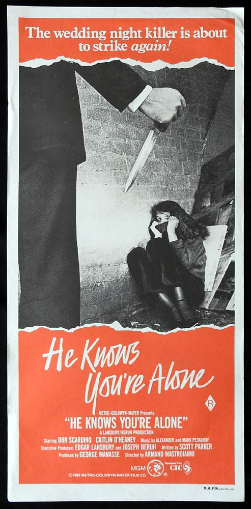 HE KNOWS YOU'RE ALONE Original Daybill Movie Poster Don Scardino