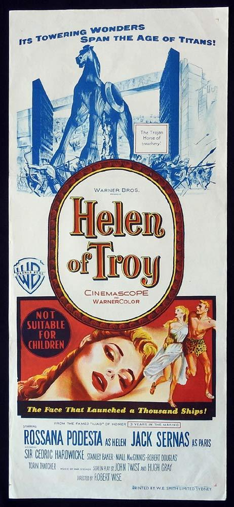 HELEN OF TROY Original Daybill Movie Poster Rossana Podestà Jacques Sernas