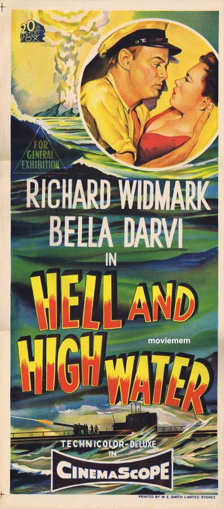 HELL AND HIGH WATER Original Daybill Movie Poster Richard Widmark