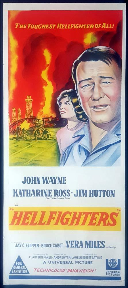 HELLFIGHTERS Original Daybill Movie Poster John Wayne as Red Adair