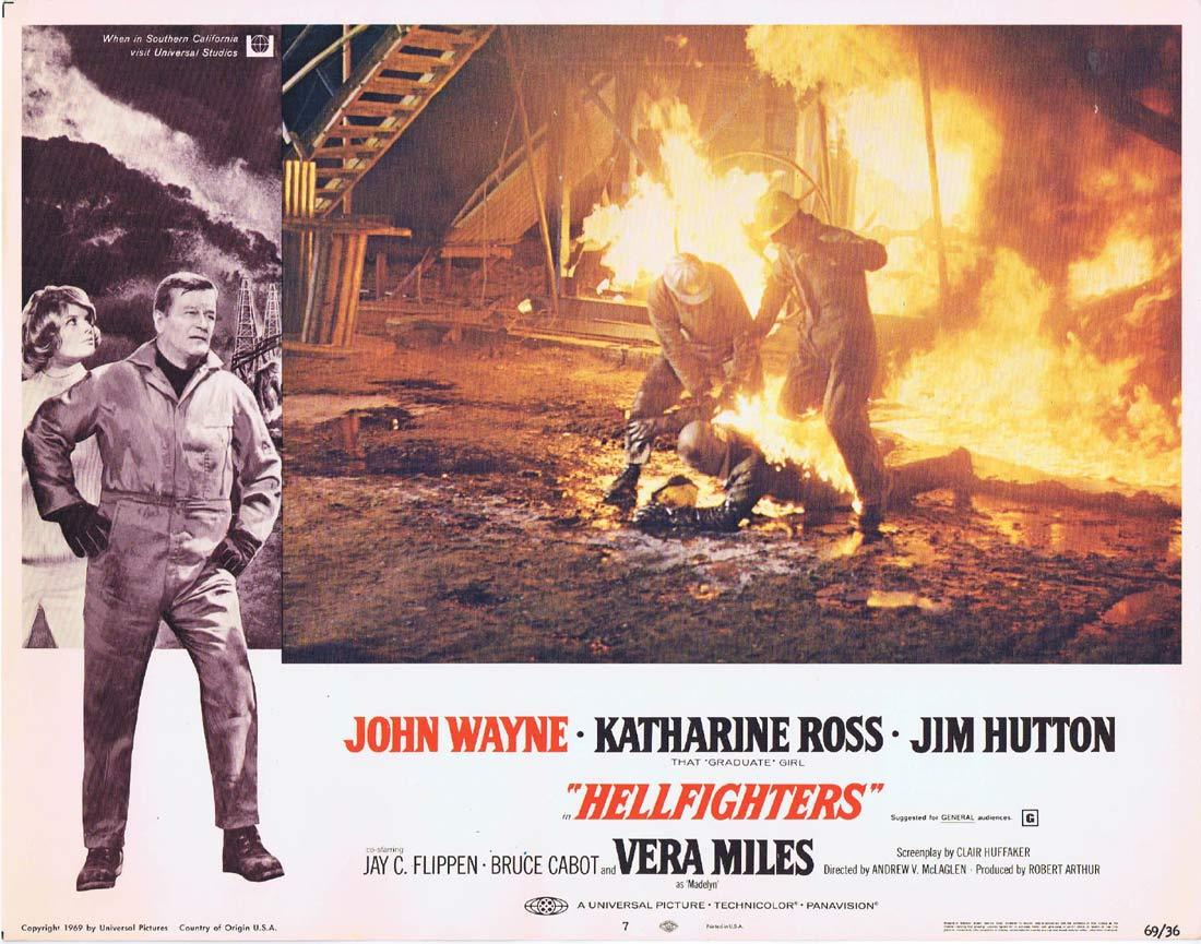 HELLFIGHTERS Original Lobby Card 7 John Wayne Red Adair Katharine Ross