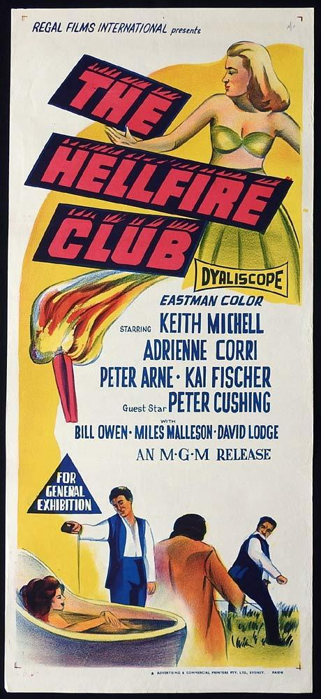 THE HELLFIRE CLUB Original Daybill Movie Poster Keith Michell Peter Cushing
